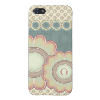 Pastel Folk Art Flowers Monogram iPhone 5/5S Cases