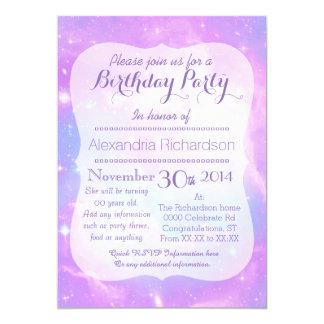Pastel Galaxy space birthday 13 Cm X 18 Cm Invitation Card