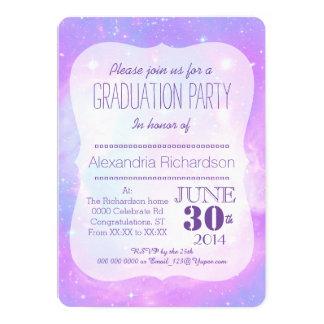 Pastel galaxy space Graduation party 13 Cm X 18 Cm Invitation Card