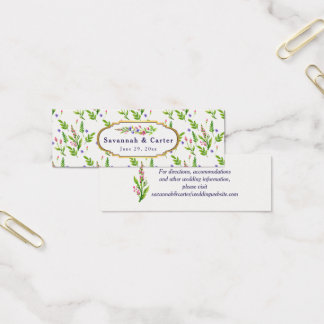 Pastel Garden Floral Wedding Information Mini Business Card