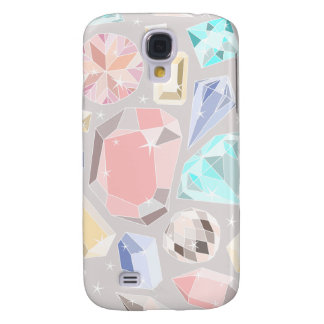 Pastel Gemstone Diamond Pattern PInk Aqua Gems Galaxy S4 Covers