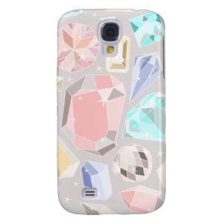 Pastel Gemstone Diamond Pattern PInk Aqua Gems Samsung Galaxy S4 Cover