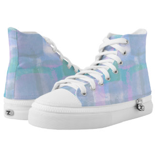 Pastel Geometric Lines Abstract Art High Top Shoes