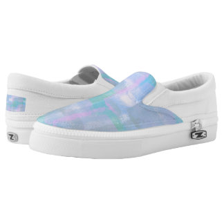 Pastel Geometric Lines Abstract Art Slip-On Shoes