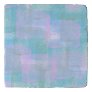 Pastel Geometric Lines Abstract Art Stone Trivet