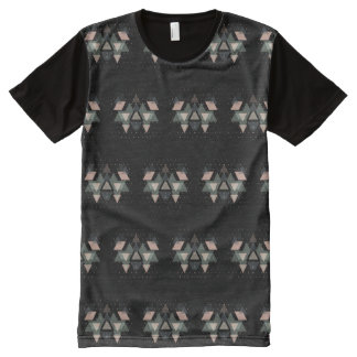 Pastel Geometrical Forms And Dots On Black All-Over Print T-Shirt