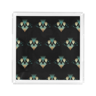 Pastel Geometrical Forms On Black Acrylic Tray