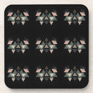 Pastel Geometrical Forms On Black Drink Coasters