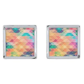 Pastel Geometry Silver Finish Cufflinks