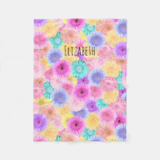 Pastel Gerbera Daisy with Her Name Fleece Blanket