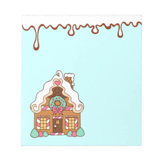 Pastel Gingerbread House Notepad