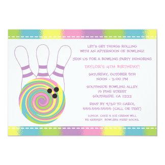 Pastel Girl Bowling Birthday Party Invitations