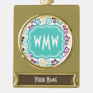 Pastel Girly Floral Pattern & Aqua Custom Monogram Gold Plated Banner Ornament