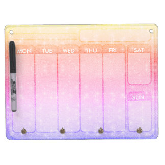 Pastel Glitter Days of the Week Weekdays Dry Erase Board With Key Ring Holder