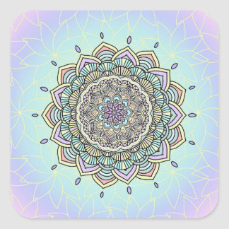 Pastel Glow Mandala ID359 Square Sticker