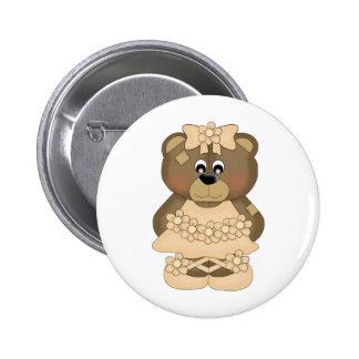 Pastel Gold Ballerina Bear Pin