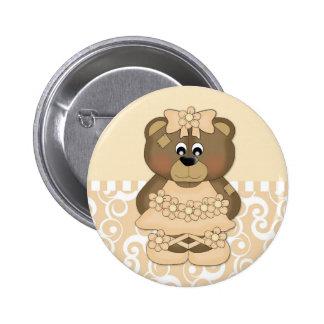 Pastel Gold Ballerina Bear Pinback Button