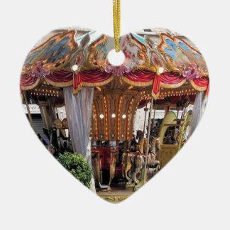 Pastel & Gold Floral Italian Carousel Pentagon Ceramic Heart Decoration