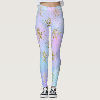 Pastel Golden Unicorn Leggings