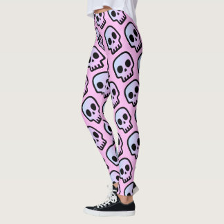 Pastel Goth Creepy Cute Headhunter Emoji Skull Leggings
