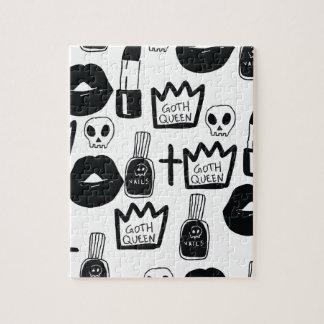pastel goth, queen, horror, terror, gothic, femini jigsaw puzzle