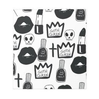 pastel goth, queen, horror, terror, gothic, femini notepad