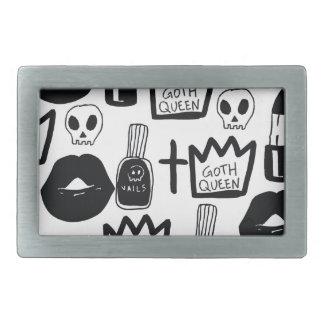pastel goth, queen, horror, terror, gothic, femini rectangular belt buckles