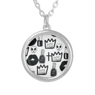 pastel goth, queen, horror, terror, gothic, femini silver plated necklace