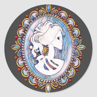 Pastel Goth Skeleton Woman Classic Round Sticker