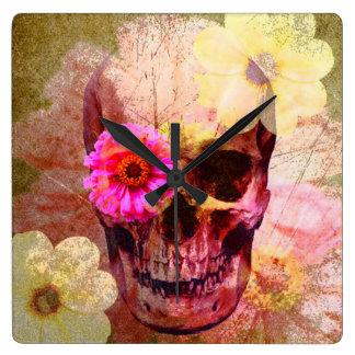 Pastel Goth Skull Clock