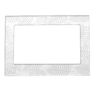 Pastel Gray Leaves. Magnetic Photo Frames