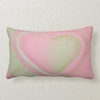 Pastel Green and Pink Heart Throw Pillow-small Lumbar Cushion