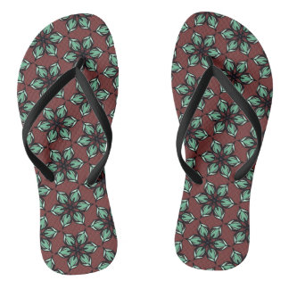 Pastel green apple blossom kaleidoscope thongs