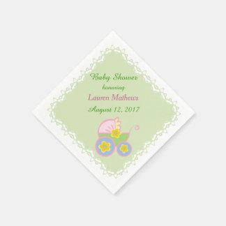 Pastel Green Baby Buggy Shower Paper Serviettes