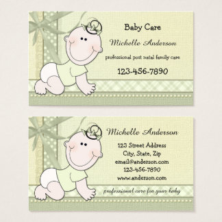 Pastel Green Baby Care Baby Sitter Business Card
