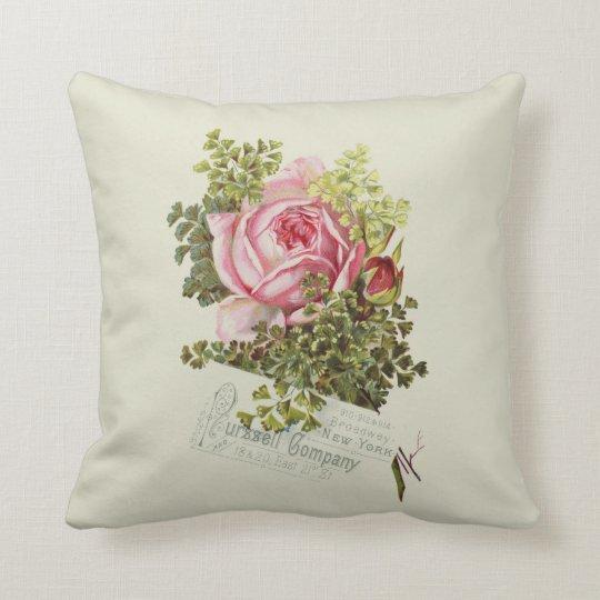 Blush Rose Throw Pillows : Pastel green blush pink vintage rose typography throw pillow Zazzle