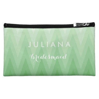 Pastel  Green Chevron Pattern Wedding Bridesmaid Cosmetic Bag