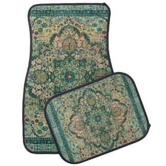Pastel Green Colourful Floral Tribal Rug Motive Car Mat