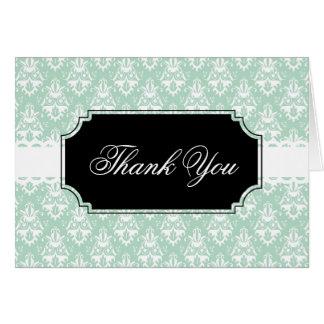 Pastel Green Damask Design Greeting Card
