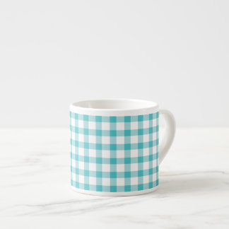 Pastel Green Gingham Check Pattern Espresso Cup