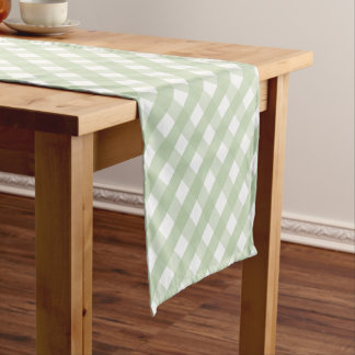 Pastel Green Gingham Check Pattern Short Table Runner