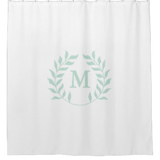 Pastel Green Laurel Garland Wreath Monogram Shower Curtain