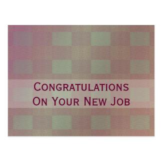 pastel green mauve congratulations job postcard