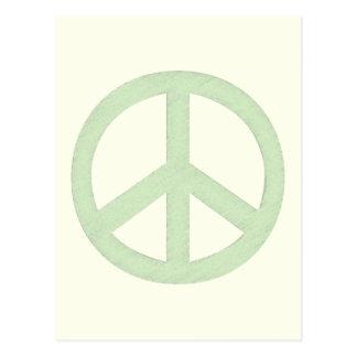 Pastel Green Peace Sign Postcard