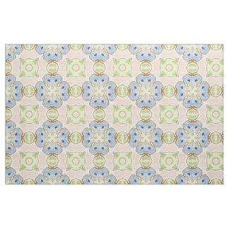 Pastel Green Pink Blue Cute Nouveau Mosaic Pattern Fabric