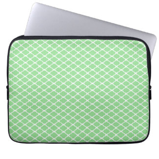 Pastel Green Quatrefoil Laptop Sleeve