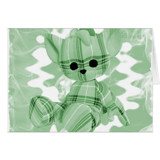 Pastel Green Spiral Smoke Teddy Bear Greeting Card