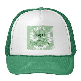 Pastel Green Spiral Smoke Teddy Bear Mesh Hats