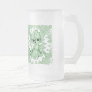Pastel Green Spiral Smoke Teddy Bear Coffee Mugs