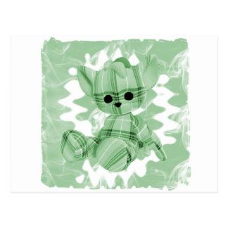 Pastel Green Spiral Smoke Teddy Bear Post Cards